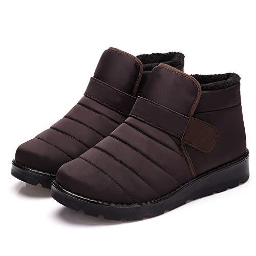 Winter Womens korte laarzen Plus Fluwelen Warm Ronde teen Schoenen Platte Slip op laarzen Binnenste Synthetische Bont Rubberen Zool Zacht en Rimpelbestendig met Goede Ademend