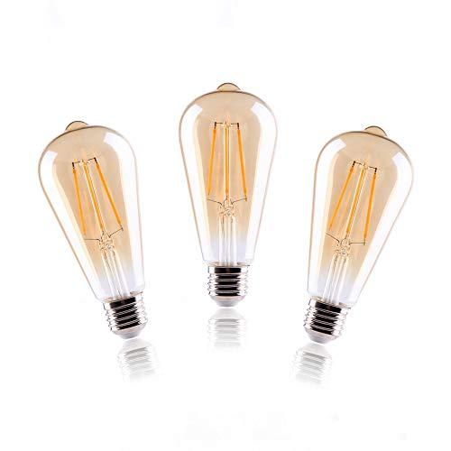 ELINKUME 3x Ampoule LED E27 Dimmable à Filament - Stepless Dimmable Ampoule ST64 Style Antique - Rétro 2700K Blanc Chaud