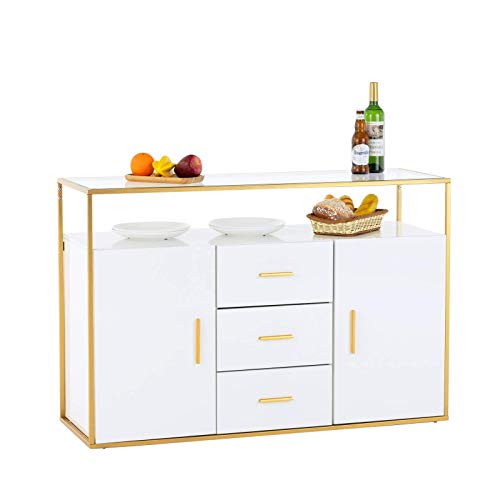 Mecor Kitchen Sideboard Buffet Sorage Cabinet,Tempered Glass Top Buffet Storage Cabinet with 3 Drawers,2 Doors,and Open Shelf,Kitchen Dining Room Furniture Console Server Table White