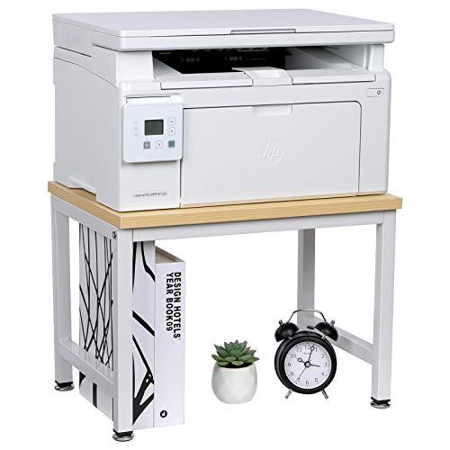 OROPY Soporte de madera para impresora con patas antideslizantes ajustables, estante organizador de almacenamiento de escritorio para máquina de fax, escáner, archivos, material de oficina, 40x28x29cm