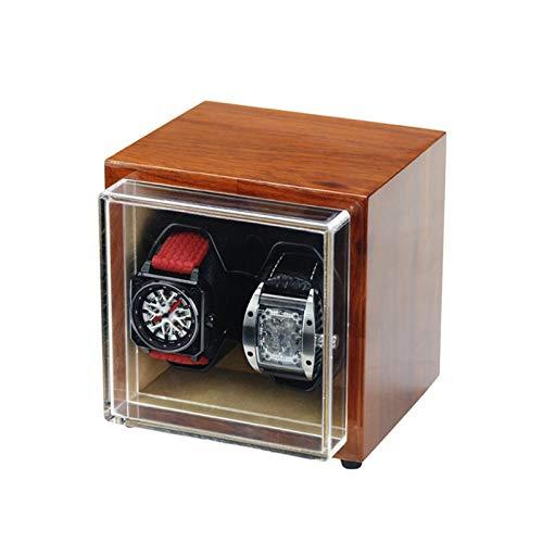 Cajón para guardar relojes y joyas Binder de doble reloj para relojes automáticos, exterior de palisandro brasileño, motores silenciosos, ajuste de 4 modo de rotación Estuche de almacenamiento de lujo