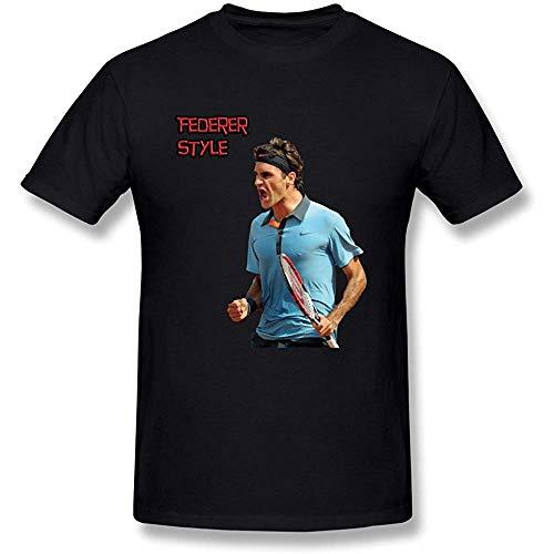 QQH Gilbert Joyce Men's Roger Federer Tennis T-Shirt Black(Size:XXXL
