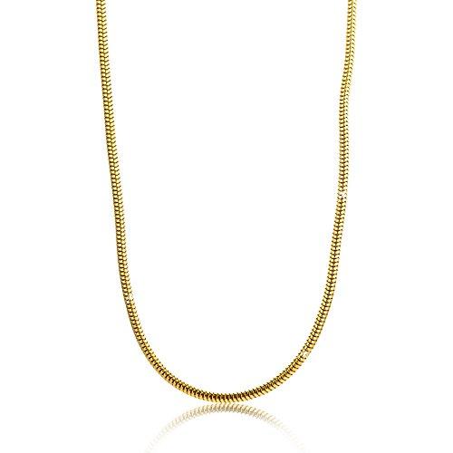 Orovi Damen Schlangenkette Halskette 8 Karat (333) GelbGold Schlange kette Goldkette 1,2mm breit 45cm lange