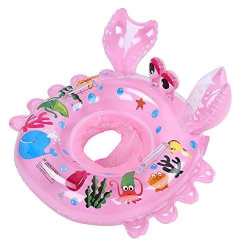 Asiento de Flotador de Piscina para bebés Flotador de natación Anillo de natación Inflable Barco Forma de Cangrejo Animal de Dibujos Animados Lindo para el Deporte acuático de Verano(Rosado)
