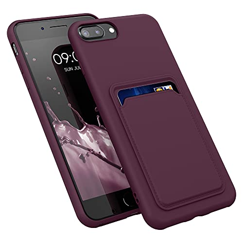 kwmobile Cover Compatibile con Apple iPhone 7 Plus / 8 Plus - Custodia in Silicone TPU con Slot Porta Carte - Back Case Cellulare - Rosso Fulvo