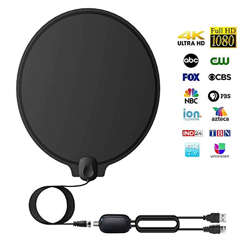Digital Amplified 4K HD Indoor Smart TV Antenna – 60 95 Miles Range Support 1080p and Older TV's Powerful HDTV Best Amplifier Signal Booster – 9.8ft Coax Cable/USB Power Adapter