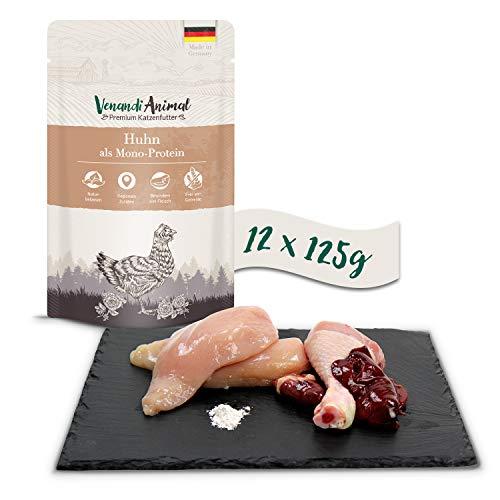 Venandi Animal Premium Nassfutter für Katzen, Huhn als Monoprotein, 12 x 125 g, getreidefrei und naturbelassen, 1.5 kg