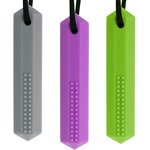Ausbay Sensory Chew Necklace(3 Pack), Silicone Crystal Pendant Chewable Jewelry Oral Sensory Motor Aids for Boys & Girls with Autism, ADHD,SPD, (Grey, Purple, Green)