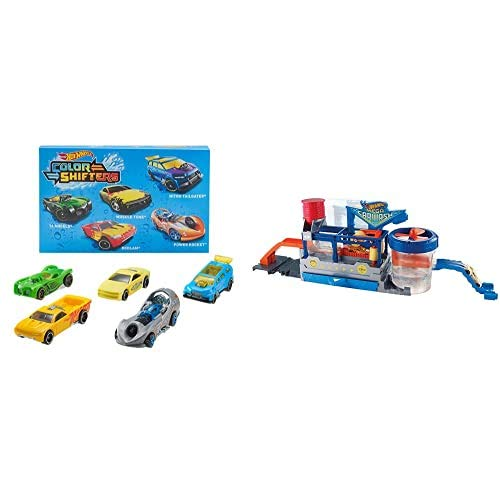 Hot Wheels Shifters Pack de 5 Coches Que cambian de Color + Supertúnel de Lavado, Pista de Coches de Juguete