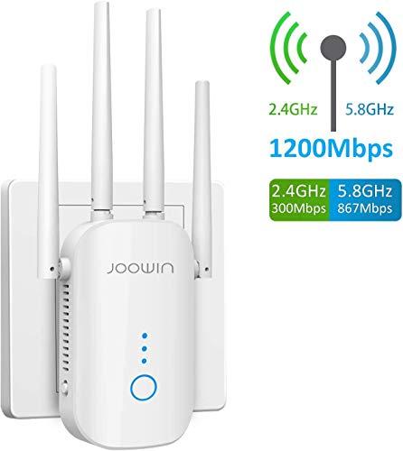 JOOWIN WLAN Repeater AC1200 Dual-WLAN AC+N WLAN Verstärker 867MBit/s 5GHz 300 MBit/s 2,4GHz WiFi Range Extender mit Gigabit Ethernet LAN Port WPS, WiFi Repeater/Router/AP (Weiß)
