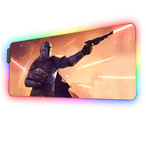 RGB Mouse Pad Star Wars Mandalorian and Baby yoda,Mousepad with 12 Lighting Modes & Anti-Slip Rubber Base,Glowing Huge Laptop Desk Pad,Computer Keyboard and Mice Combo Pads Mouse Mat 31.5x11.8 inch