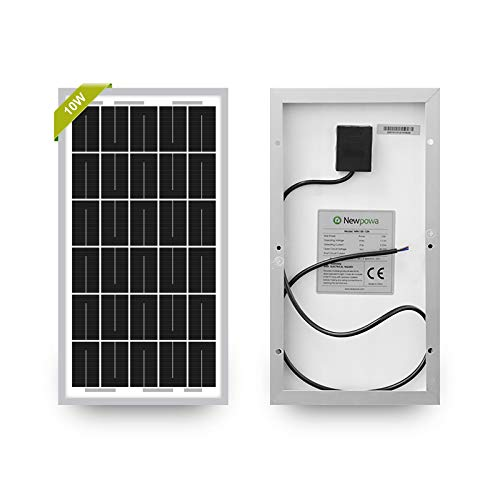 Newpowa 10W(Watts) 12V(Volts) Monocrystalline Solar Panel Battery Maintainer High-Efficiency PV Module Power for Battery Trickle Charging of Boat RV Gate Opener Fences and Off-Grid Applications