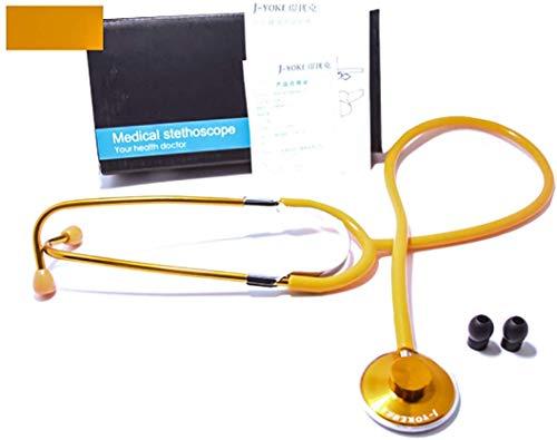 FEE-ZC Estetoscopio de Uso General médico de Doble Cabeza, analizador clínico Accesorios para médico Enfermera Veterinario Estudiante de Medicina Salud Sangre, Oro