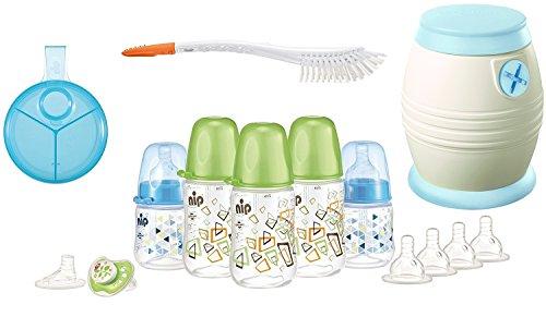 nip Starterset - Alles für den Anfang - Flaschenset, Cool Twister, Milchpulverspender, Bürste 2in1 plus Überraschungsgeschenk für Jungen