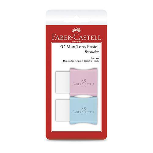 Borracha Branca com Capa Protetora, Faber-Castell, FC Max Tons Pastel, SM/7024MAR, Cores Sortidas, 2 Unidades