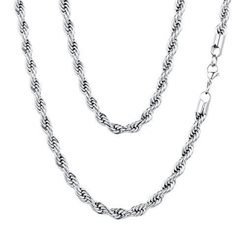FaithHeart 20 Pulgadas Color Plata de Hombre y Mujer 6MM Grueso Collares de Trenzas Cadena Gruesa