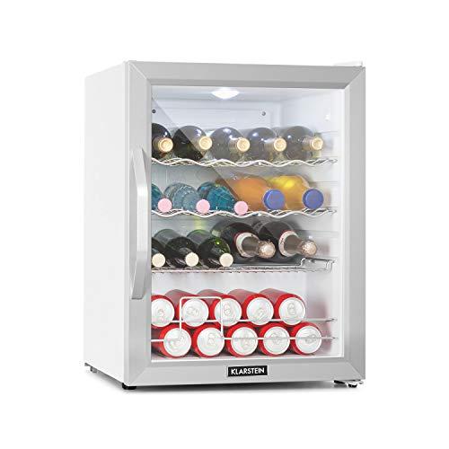 Klarstein Beersafe XL - Getränkekühlschrank, 60 Liter, Energieeffizienzklasse A++, 5 Kühlstufen: 3-10 °C, 42 dB, 2 flexible Metallböden, LED-Licht, Kühlschrank für Flaschen, Mini Bar, Edelstahl/weiß