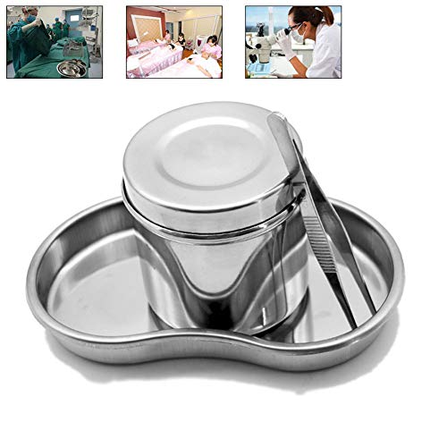 DZWJ Tablett für medizinische Instrumente aus Edelstahl Enthält medizinische Desinfektionsgefäße, Desinfektionstabletts und Pinzetten,L