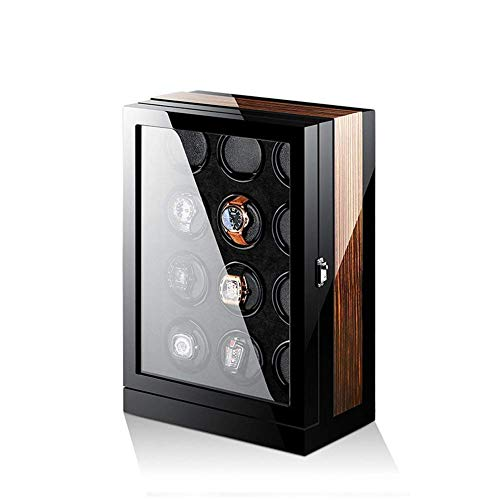 JYTFZD HAOYANG-Uhrenbox- Watch-Wickler, Automatikuhr-Wickler-Kasten, 12 hölzerne Batterie Silentuhren-Fälle-Uhren-Uhren-Boxen-Wicker-Anzeigen-Aufbewahrung schwarz und braun/HDDsByBQ-1302