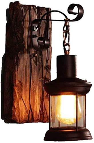 LHJCN Lámparas de Pared industriales nostálgicas Loft Base de Madera Vintage Base de Bombilla E27 Lámpara de Pared de Metal Antiguo Aplique Iluminación de Pared rústica Interior Cableado para Li