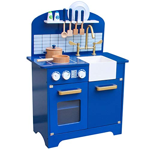 Pidoko Kids Play Kitchen, Navy Blue Toy...