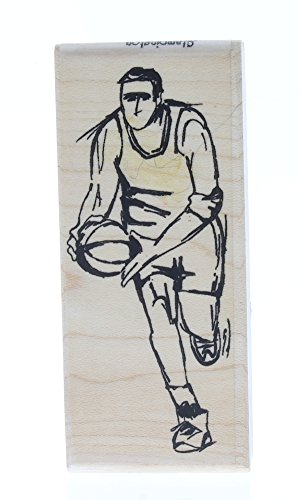 Stampington And Co The Basketball Dribbler Player Wood Mount Rubber Stamp