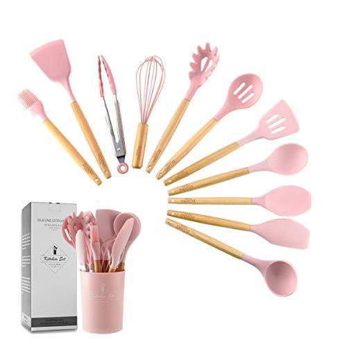 ZCOINS 11 + 1 PC Silikon Kochutensilien-Set mit Holzgriffen und Halterung, Küchenhelfer-Set, Geschenk (Rosa)