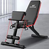 US Fast Shipment Home Gym Adjustable Weight Bench Foldable Workout Bench Adjustable Sit Up AB Incline Abs Bench Flat Fly Press Fitness Rope,Weight Press Fitness MAX330LB (B)