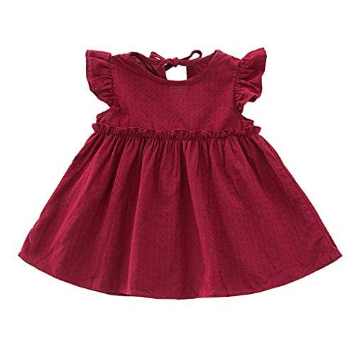 fgsdd Vestido de princesa para niños pequeños, bebés, niñas, con volantes, de lino macizo, elegante, para fiestas Vino 90 cm