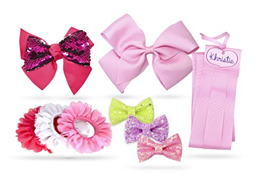 Khristie Girl Hair Bows and Clip Holder, Trendy and Stylish Hair Kit for Girls, Teens, Kids, Toddlers, and Children | Hair Accessories Set (9 Pieces)