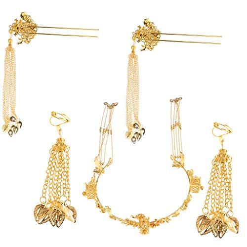 Baoblaze Chinesischer Art Brautschmuck Set inkl. Ohrhänger + Haarkrone + Haarnadeln, aus Legierung Strass und Perlen - Golden