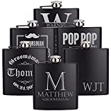 PersonalizedGiftLand Personalized Flask - Customized Flask Groomsmen Gifts For Wedding Favors, Gift For Father, Friend – Stainless Steel Engraves Flasks w Gift Box Options – 6oz, Black