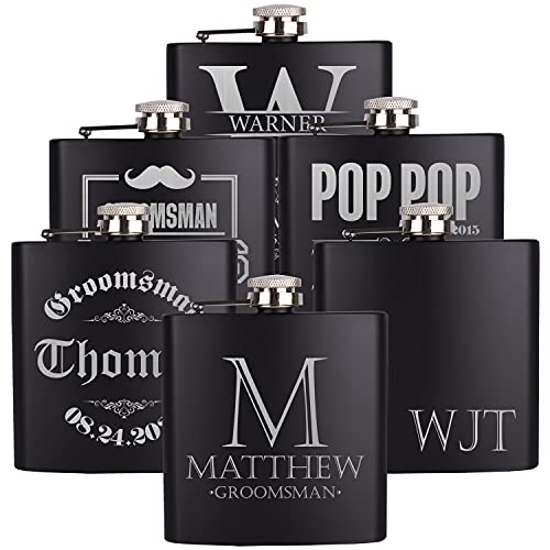 PersonalizedGiftLand Personalized Flask, Set Of 10 - Customized Flask Groomsmen Gifts For Wedding Favors, Personalized Groomsman gift – Stainless Steel Engraves Flasks w Gift Box Options – 6oz, Black