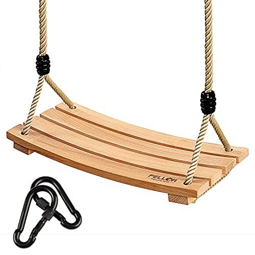 PELLOR Columpios Infantiles, Columpio de Madera Asiento de jardín al Aire Libre con Cuerda Ajustable para niños y Adultos