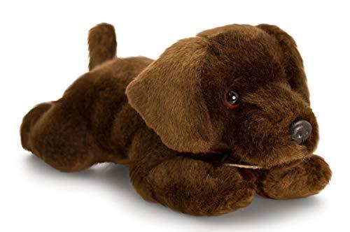 Lashuma Plüschtier Hund, Stofftier Welpe Basil, Kuscheltier Plüschhund Schoko Labrador liegend 25 cm