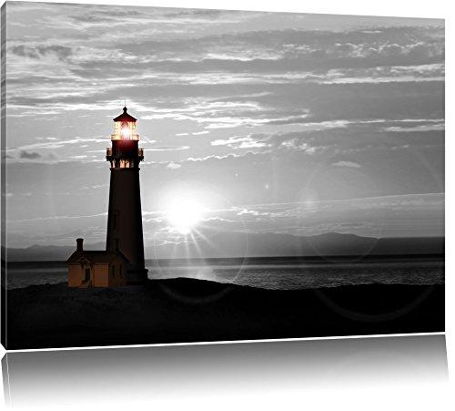 Pixxprint Leuchtturm im Sonnenuntergang als Leinwandbild | Größe: 100x70 cm | Wandbild| Kunstdruck | fertig bespannt