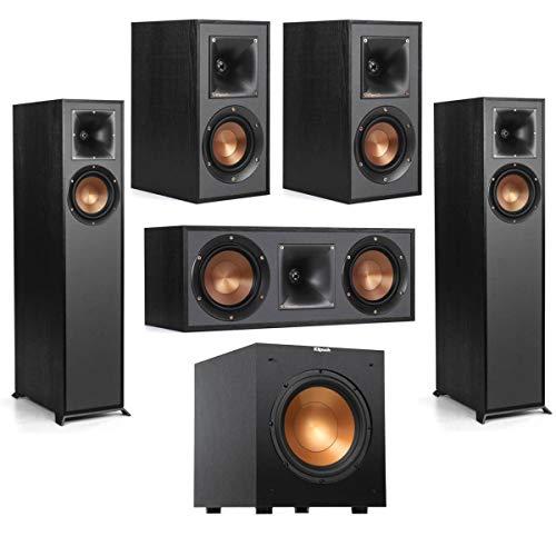 Klipsch R-610F Floorstanding Home Speaker - Bundle R-52C Center Channel Home Speaker, R-41M Bookshelf Home Speakers (Pair), R-10SW 10