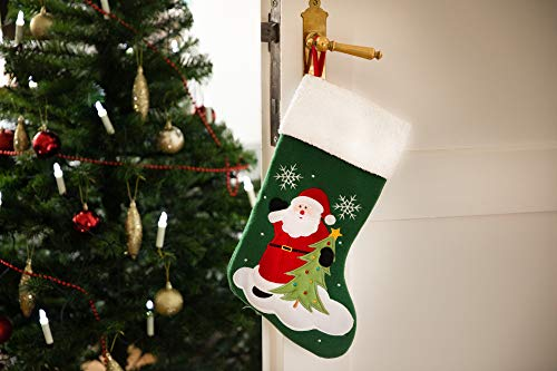 HEITMANN DECO Filz-Nikolausstiefel zum Befüllen und Aufhängen - Nikolaus-Strumpf - Grün mit weihnachtlicher Stickerei