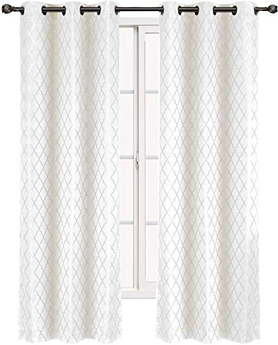 Royal Hotel Willow Jacquard White Grommet Blackout Window Curtain Panels, Pair/Set of 2 Panels, 42x84 inches Each