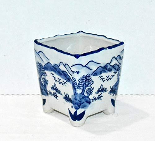 New 5' Cobalt Blue & White Oriental Mountain Water Theme Square with Feet Bonsai Planter Pot