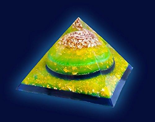 4.5 inch Gold, Green, & Blue Orgone Pyramid