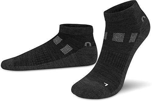 normani 2 Paar Merino-Wolle Sneaker Socken - für Damen und Herren - Trekkingsocken, Wandersocken - atmungsaktive Merinowolle Farbe Schwarz Größe 43-46