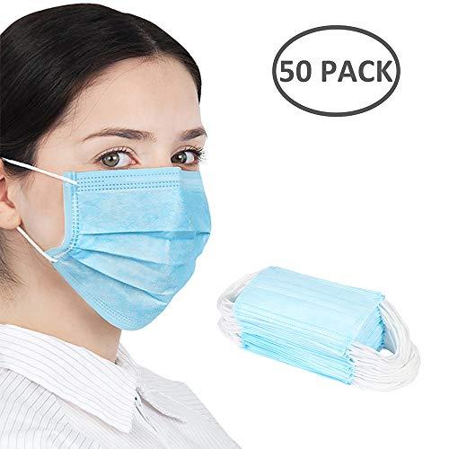 [Lokoware] 50 Stück Mundschutz Einweg 3-lagig Face Gesichtsmund Atmungsaktiv für Erwachsene & Kinder Blau 17,5cm x 9,5cm