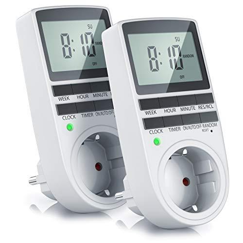 CSL - 2X Digitale Zeitschaltuhr - Programmierbarer Timer - LCD-Display 5,3 cm - 3680W - Digital-Zeitschaltuhr mit 10 konfigurierbaren Programmen - Back-Up Reserve-Akku - Zufallsschaltung -