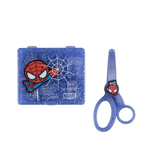 """Yoobi x Marvel Spider-Man Mini Office Supply Kit & Marvel School Set – Spider-Man Set w/ Stapler, Staples, Hole Punch, Tape Dispenser, Blunt Tip Scissors for Kids w/ 2 1/4"""" Blade"""