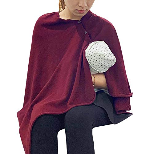 Cheap Nursing Cover Poncho for Breastfeeding Adjustable Knitted Scarf with Button Closure for Privac...