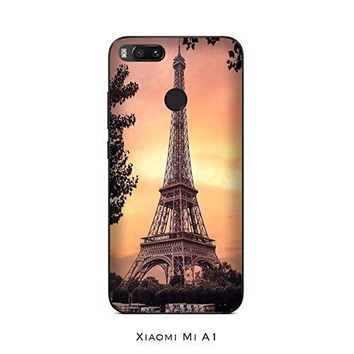 Desconocido Funda Mi A1 Carcasa Xiaomi Mi A1 Torre Eiffel al Atardecer/Cubierta Imprimir también en los Lados/Cover Antideslizante Antideslizante Antiarañazos Resistente a Golpes Protectora Rígida