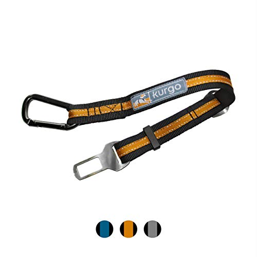 Kurgo Direct To seat belt Tether for Dogs, Universal Car seat belt for Pets, Adjustable Length Dog Safety Belt, quick & Easy Installation, Carabiner clip, Compatible with Any Pet Harness (Orange)