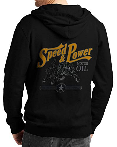 Herren Zip Hoodie Sweat-Jacke mit Kapuze Kapuzen-Jacke Winter mit Motiv Bedruckt Hot-Rod US-Car Amerika Mustang Challenger Muscle-car V8 Speed and Power Schwarz 2XL