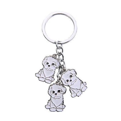 NashaFeiLi Hunde-Erkennungsmarken aus Metall, süßer Schlüsselanhänger mit drei Hunden, Geschenk für Hundeliebhaber (Bichon Frise)